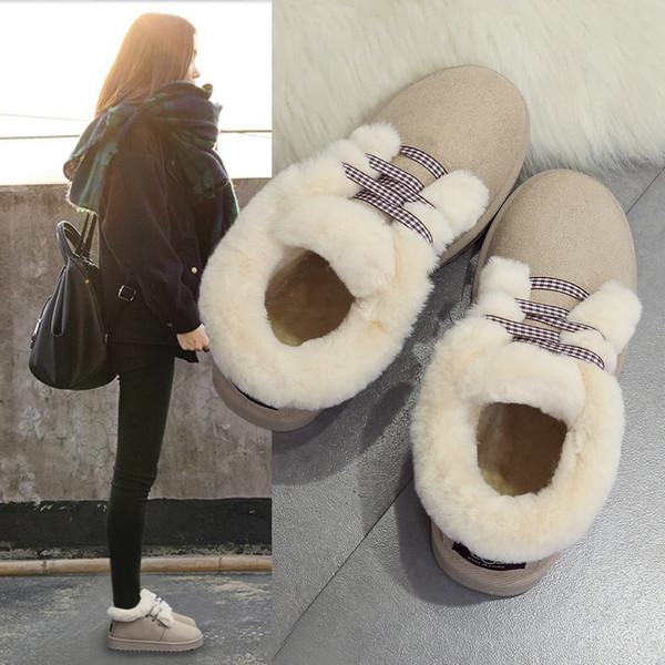 Lolita Fille cheville Bottes neige chaude en peluche épais d'hiver Flats Chaussures