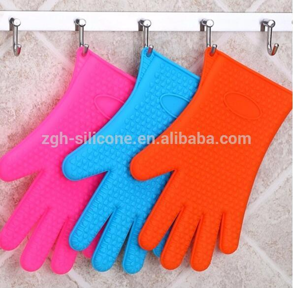BBQ Baking Silicone Gloves Heat Resistant Oven 100% Food Grade Silicone Gloves with fingers 1pcs/ PE bag 50pcs/CTN