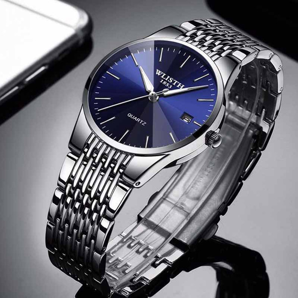 Gli orologi degli amanti del polso del quarzo di affari degli uomini della vigilanza dell'acciaio inossidabile impermeabile di lusso della vigilanza delle coppie libera la vendita Vendita
