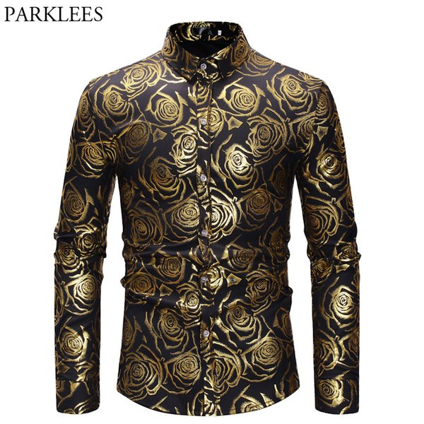 Men's 3D Golden Rose Design Slim Fit Long Sleeve Button Down Floral Printed Dress Shirts Prom Performing Shirts Camisas Hombre
