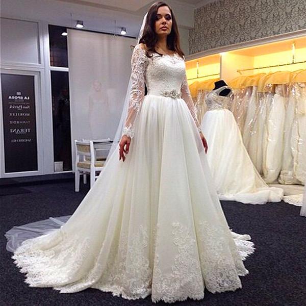 Vestido de novia Illusion Long Sleeve Wedding Dresses A Line Boat Neckline Sweep Train Crystal Belt Lace Applique Organza Covered Button