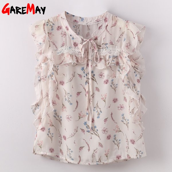 Women Blouses Ruffle 2019 Sleeveless Loose Floral Printed Chiffon Blouse Women Shirt Ladies Bow Tied Neck Feminine Blouse Y190518