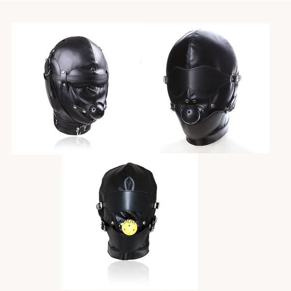 Seksi Faux Deri Açık Ağız Gag Hood Slave Başlık Göz Maskesi Kısıtlama Roleplay AU097