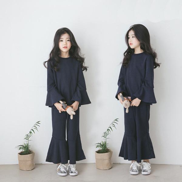 2019 novas meninas das meninas clothing 2 pçs / set t-shirt babados flare pants moda algodão outono primavera meninas roupas ternos