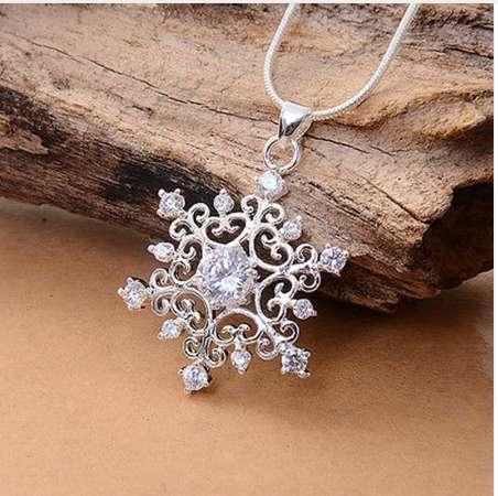 Красивый 1 шт. Посеребренная Кристалл Nice Снежинка Ожерелье Кулон Подарочный кулон