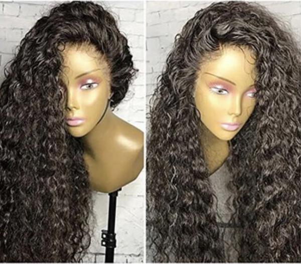 150% yoğunluk Kinky kıvırcık dantel ön peruk ön koparıp tutkalsız brezilyalı saç siyah kadınlar için 360 tam dantel ön İnsan saç peruk