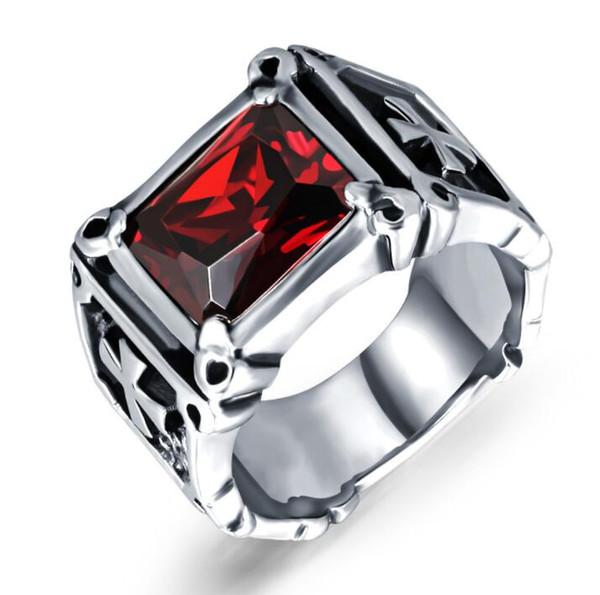 Free shipping Men's Biker Stainless Steel Ring Big stone For Man Unique Gothic Punk Retro Sport Biker Male Finger Rings