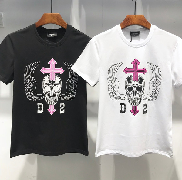 Moda uomo D2019 nuova personalità stampa Slim sottile a maniche corte tendenza alta moda personalizzata casual T-shirt 714 DT504