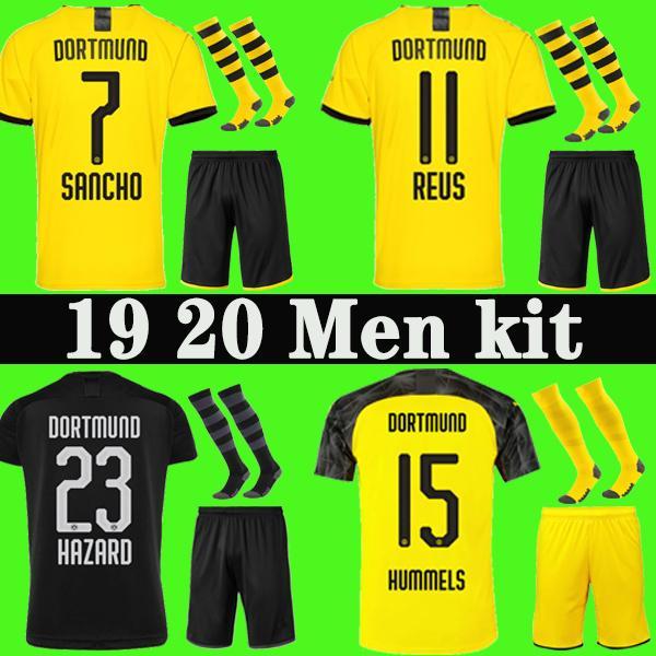 19 20 BVB Borussia Dortmund Джерси футбол 2019 2020 ОПАСНОСТИ футбол рубашка SANCHO REUS Хуммельс BRANDT PACO Делани форменные Мужчины комплект