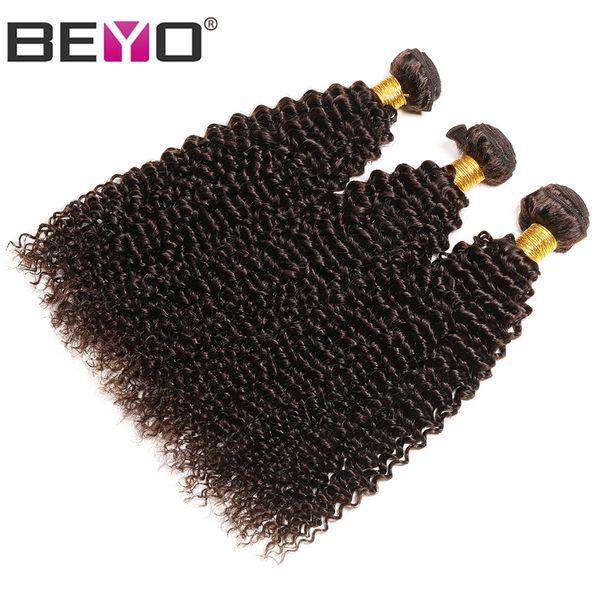 Marrom escuro Afro Crespo Encaracolado Humano Feixes de Cabelo Weave Malaio Bundles Remy Extensão Do Cabelo 3 Pçs / lote 10-24 Polegada # 2 Cor Beyo