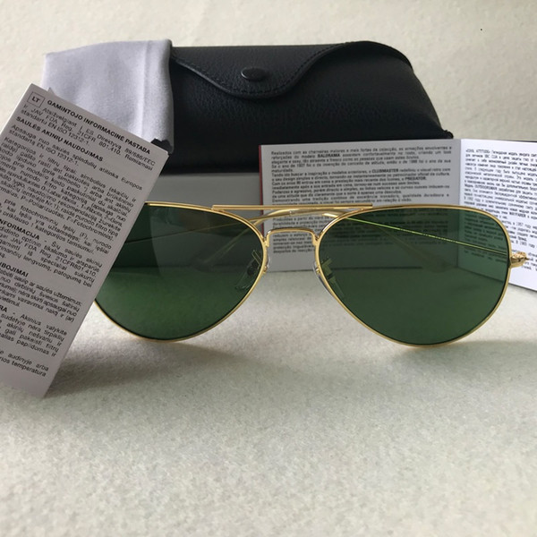 top popular Pilot Style Sunglasses Brand Designer Sunglasses for Men Women Metal Frame Flash Mirror Glass Lens Fashion Sunglasses Gafas de sol 58mm 62mm 2021