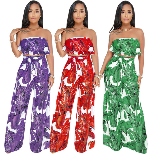 Sexy Women 2 Piece Pants Strapless Breast Wrap Back Twinset Pants Ladies Suits Women's 2 Piece Sets Ladies Suit