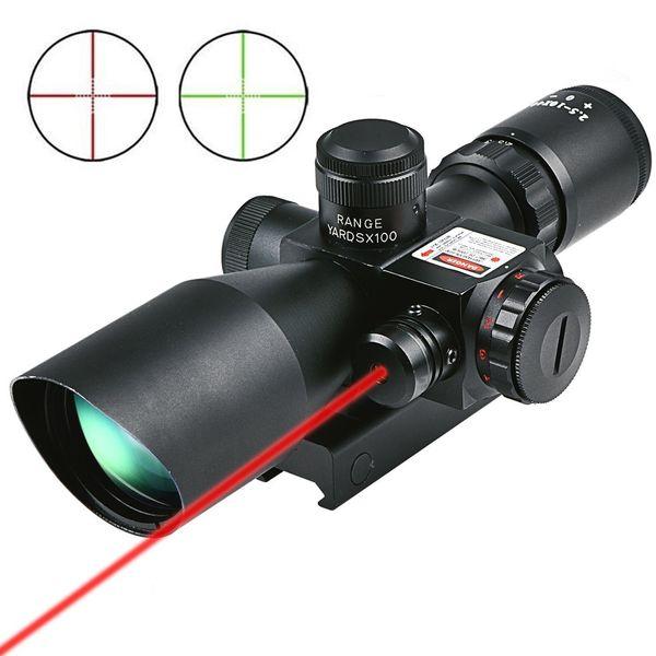Lunette de visée pour fusil de chasse 2.5-10x40 e Rouge Vert Lumineux Pistolet Mil-Dot RifleScopes Optics Sight Scope avec monture 20mm 11mm