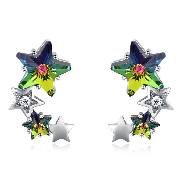 Petites boucles d'oreilles en cristal de Swarovski Elements multicolore quatre étoiles en argent Sterling Dormeuses élégant cadeau d'anniversaire de bal POTALA24B