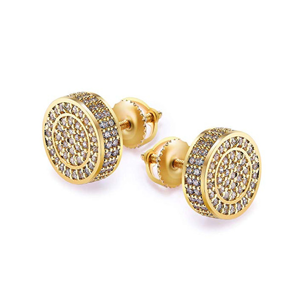 Gold Men Earrings 14 Gold Plate Mens Gold Earring for Men Screw Back Mens Hip Hop Jewelry