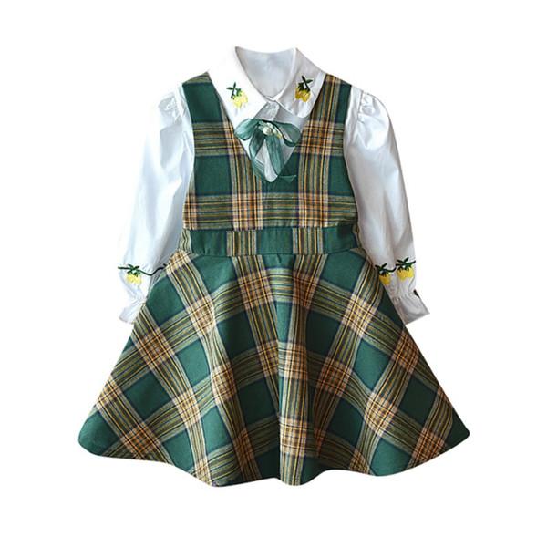 Okul Üniforma Bebek Kız Giysileri Setleri Çocuklar Uzun Kollu T-shirt Bluz Askı Ekose Etek Tulum Elbiseler Kızlar Rahat Kıyafetler