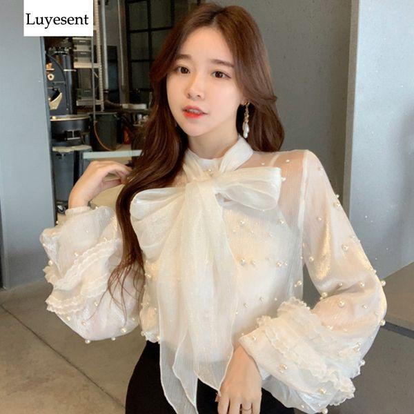 Women White Pearl Chiffon Transparent Spring Blouse Femme Mesh Big Bow Neck Vintage Elegant Lantern Sleeve OL Blouses + Camis