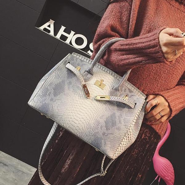 De lujo las mujeres del bolso Impreso Serpiente de piel de cocodrilo bolsa de asas de la jalea Python monedero del diseñador Mujer taleguilla del hombro Crossbody