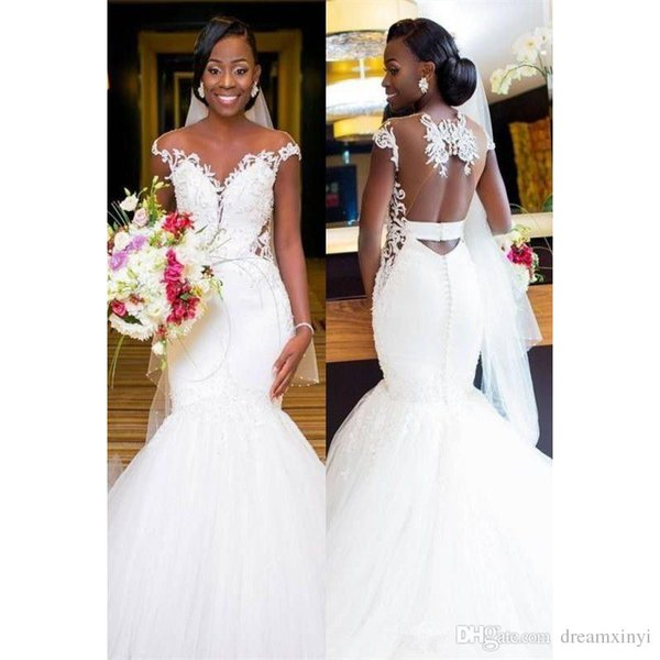 South African Mermaid Wedding Dresses 2019 New Open Back Black Girl Floor Length Lace Applique Wedding Gowns Bridal Party Dress