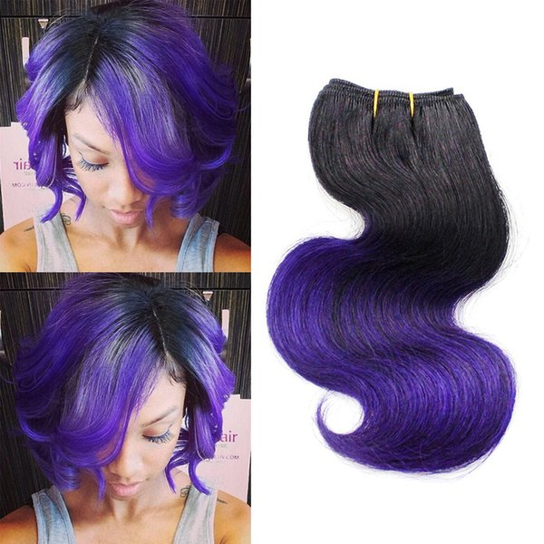 Ombre Purple Human Hair Body Wave Bob Hairstyle 8 Inch Brazilian Short Wave Virgin Sew in Hair T1B/Purple Body Wave 4 Bundles