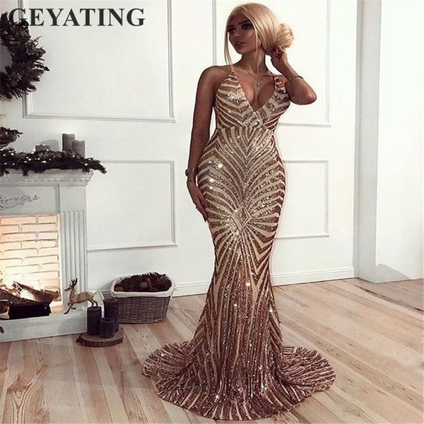 Sexy Rose Gold Sequin Backless Prom Dresses Mermaid 2019 Long Spaghetti Straps Black Maxi Women Formal Evening Party Dress Cheap J190613