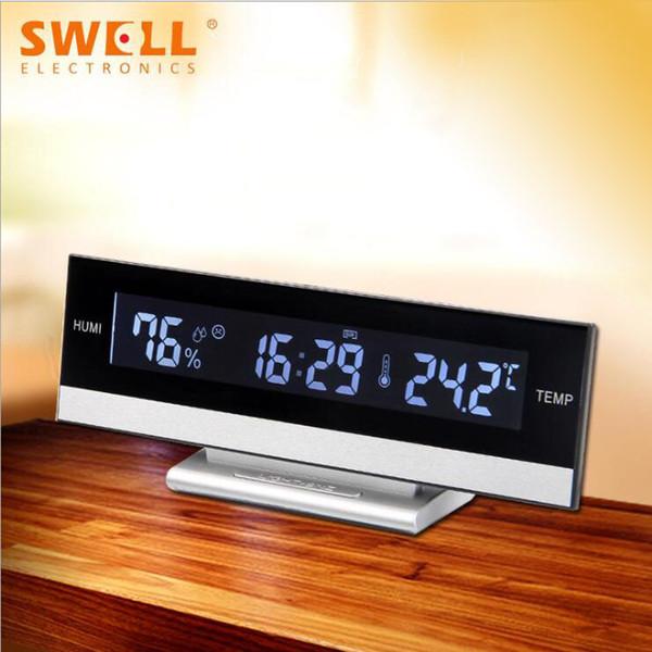 2007 Novo LCD Eletrônico Relógio Europeu Super Grande Tela LCD Despertador Criativo Silencioso Relógio de Mesa Personalização