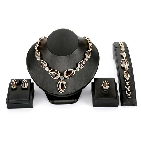 18K Gold Plated Wedding Jewelry Set Wholesale Fashion Women Luxury Elegant Rose Necklace Earrings Ring Bracelet 4-Piece Set Jewelry JS535