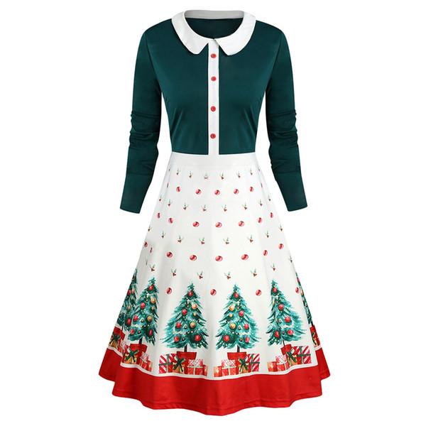 Mulheres Autumn Vintage Christmas Dress Mulheres abertura de cama ocasional de manga comprida Collar Imprimir Xmas senhoras vestido vestidos de verano 2020