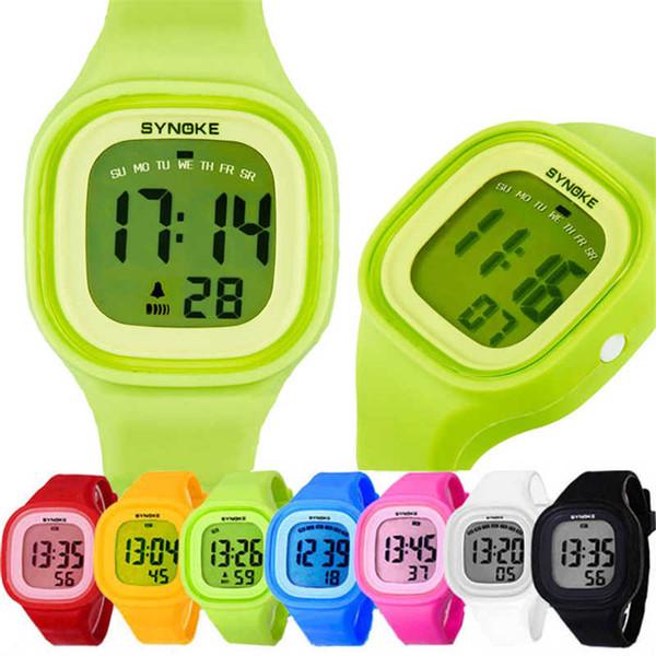 1 PC Silicone LED Luz Digital de Borracha Esporte Relógio De Pulso Criança em Amarelo Azul Rosa Verde Vermelho Branco Preto Senhoras Horloge Kinderen