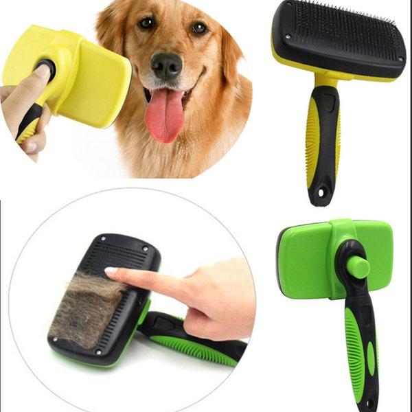Pet Grooming Brush Comb Dog Cat Self Remove Cleaning Slicker Brush Pet Long Hair Bath Clean UP Tool Pet Supplies 2 Colors XD20483