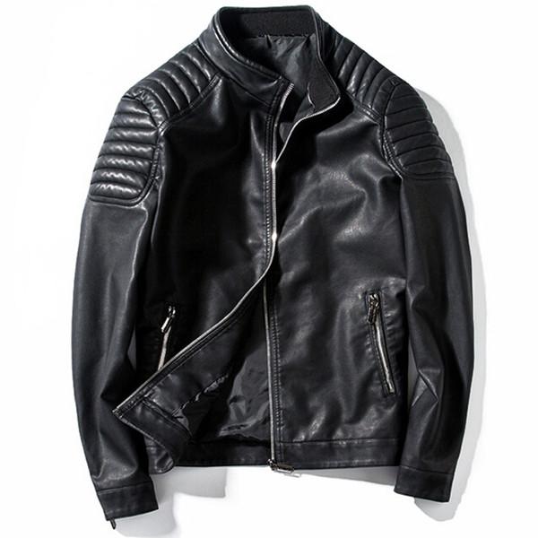 Leather Jacket Men Stand Collar Motorcycle Jackets Jaqueta De Couro Masculino Mens Fashion Streetwear Coats 4xl Veste Cuir Homme