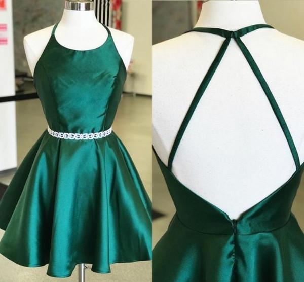 Simple Halter Short Cocktail Party Dresses Sash Open Back A-line Emerald Green Satin Short Prom Dress Graduation Dress 5th Grade Cheap