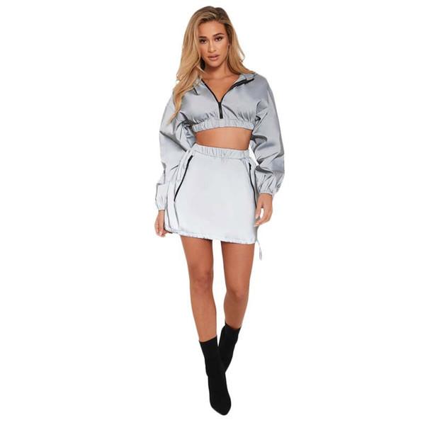 Women Reflective Tracksuit Zipper Long Sleeve Hooded Sweatshirts Crop Top + Pockets Mini Skirt Night Version 2 Piece Set