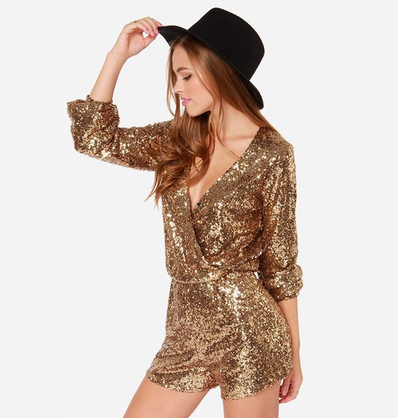 Summer Sexy Deep V Neck Sequins Woman Jumpsuits Long Sleeve Narrow Waist Onesies Casual Shorts Ladies Rompers