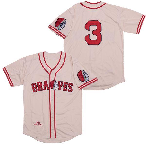 Babe Ruth # 3 Braves 1935 il ritorno al passato Jersey riso giallo ricamo traspirante di alta qualità, veloce Stock consegna