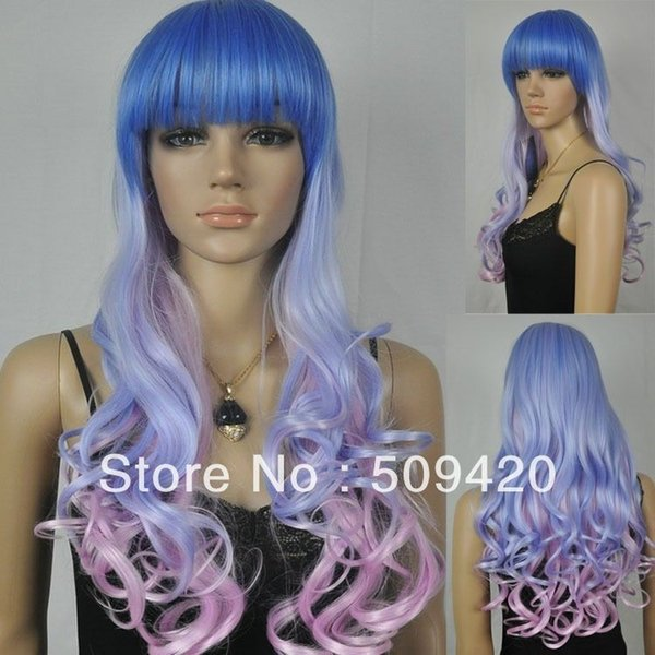 Free Shipping>>>Royal blue light purple Vintage anime full bangs synthetic wavy curly women wig DS