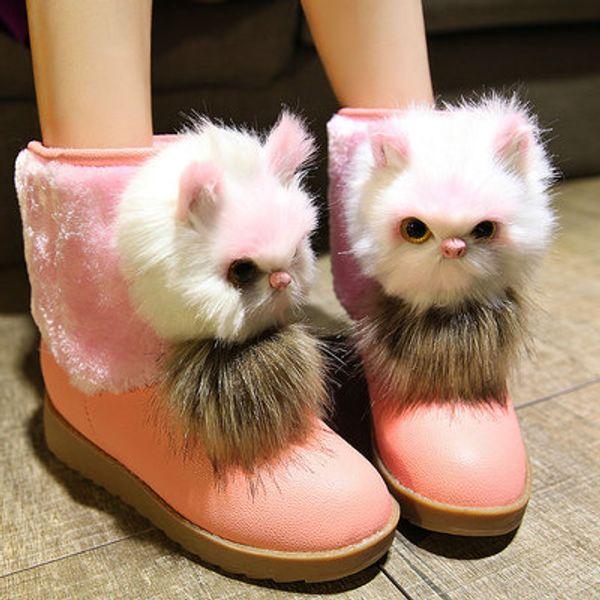 Botas curtas das mulheres gato bonito cabeça 2018 novo estudante de inverno botas de neve além de veludo anti-slip sapatos de algodão dos desenhos animados plana