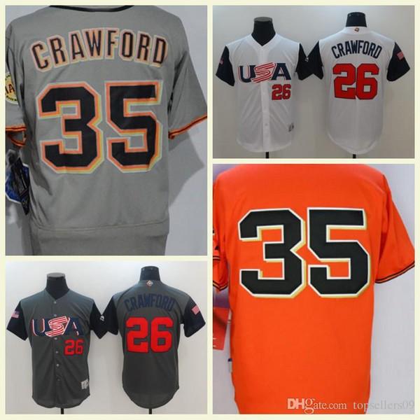 best sneakers 09ab5 36c56 2019 2018 San Francisco Mens Flexbase Stitched USA 26 Brandon Crawford  Orange Grey Cream White Black Jersey #35 Brandon Crawford Baseball Jerseys  From ...