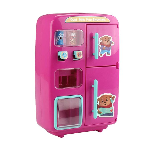 top popular Kids Pretend Fridge Toy - Electric Kitchen Refrigerator Vending Machine Play with 30pcs Variety Food Sets, 2 Colors for Choose 2021