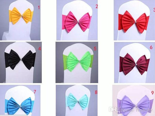 Wedding Party Banquet spandex Sash Bows For Chair Cover with jewel new style Hot selling
