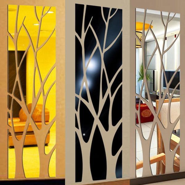Modern Akrilik Ayna Duvar Sticker Çıkarılabilir Çıkartması Sanat Mural Duvar Sticker Ev Odası DIY Dekor Ağacı Ücretsiz kargo