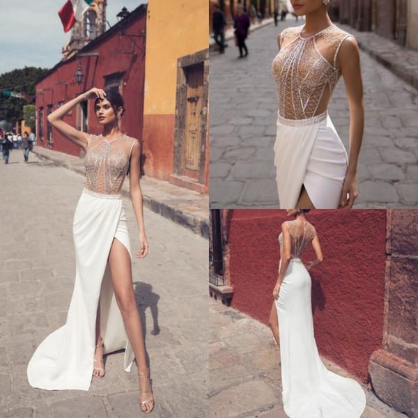 julie vino 2019 mermaid wedding dresses high side split satin beaded bridal gowns bohemian beach custom made wedding dress