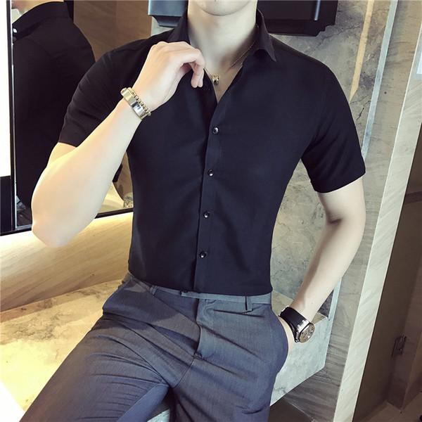 PADEGAO Brand Summer 2019 New Black Button Design Herren Selbstkultivierung Business Freizeit Kurzarm Shirt Pure Color Shirt