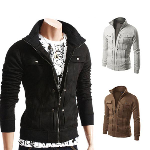 Diseñador de los hombres de manga larga chaqueta sudaderas otoño Zipper Top moda para hombre delgado abrigo de solapa chaqueta de alta calidad