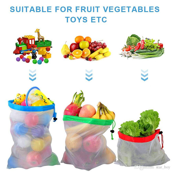 Reusable Mesh Produce Bags With Drawstring - Premium Washable Mesh Bags for Grocery Shopping Storage of Fruit Vegetable Polyester Net Bags