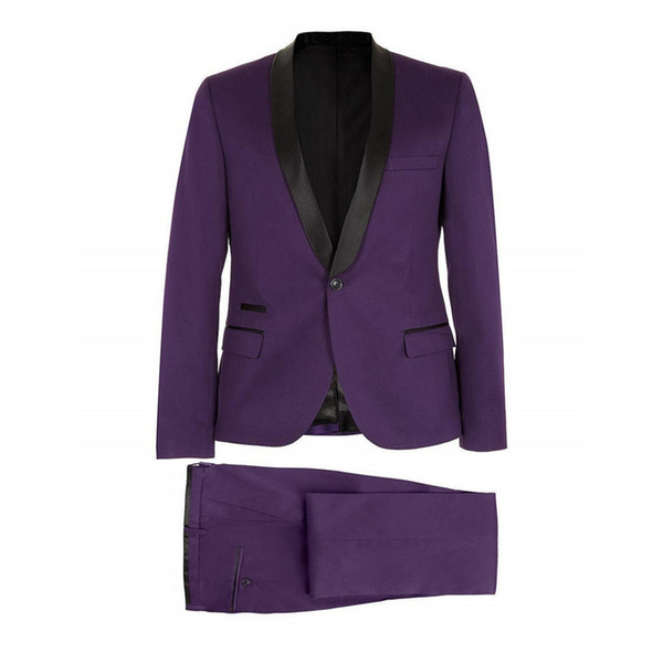 Side Vent Groomsmen Shawl Satin Lapel Groom Tuxedos Purple Mens Suits Wedding Best Man (Jacket+Pants) B8227