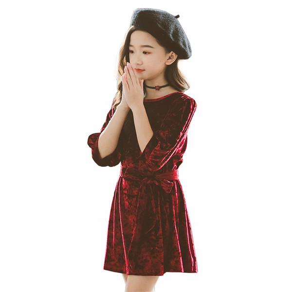 2019 Printemps Eté Filles Velours Robe De Mode Bébé Enfants Robe De Soirée Princesse Mini Robes Vêtements D'enfant 2 3 4 6 8 10 12 ans
