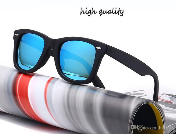 Wholesale-unisex Sunglasses Plank Frame Metal hinge Glass lenses Fashion Men Sun glasses Women glasses with brown cases and box