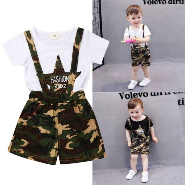 2019 new fashion kids baby boy camo denim outfit t-shirt pants casual sunsuit summer fashion casual clothes sets thumbnail