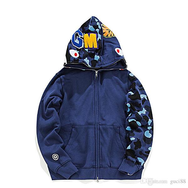 Мужские дизайнерские куртки купания aape акула голова камуфляж обезьяна полный zip ветровка куртки хип-хоп мужские бегунов зимние пальто vetements